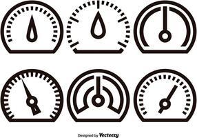 Ícones lineares Tacômetro vetor
