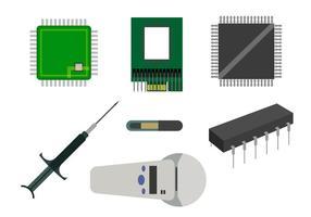 Conjunto vetorial de vários microchips vetor