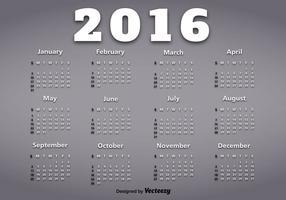 Calendário do ano 2016 vetor