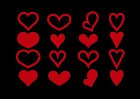Formas vermelhas do coração vetor