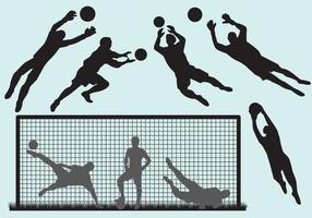 Silhuetas do Goal Keeper vetor