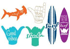 Logotipos Surf And Shaka vetor