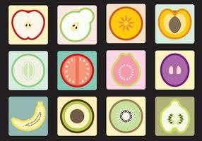 Ícones de frutas e vegetais vetor