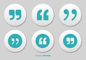 Conjunto de botões de citações marcadas vetor