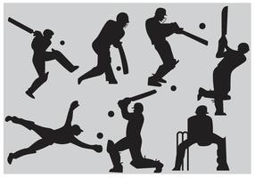 Vetores de silhueta do jogador de cricket