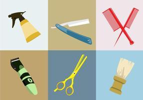 Várias ferramentas de barbeiro vetor