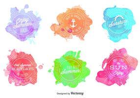 Selos Watercolored de verão vetor