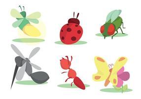 Conjunto de vetores coloridos de insetos