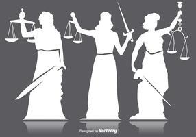 Silhuetas de justiça de senhora vetor
