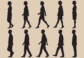 Vetores da silhueta do ciclo da caminhada