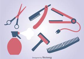 Jogo de ferramentas de barbeiro vetor
