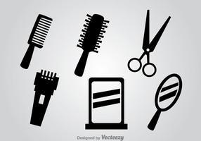 Ferramentas de barbeiro ícones vetoriais pretos vetor