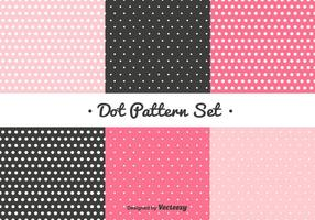 Conjunto de padrões de pontos rosa e preto vetor