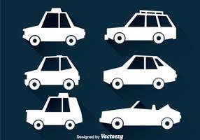 Ícones de carros brancos vetor