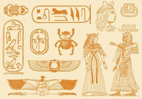 Desenhos de estilo antigo do Egito vetor