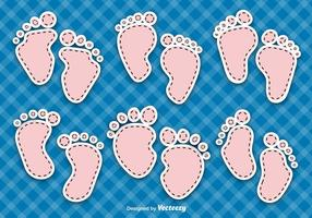 Vetores de pegadas do bebê
