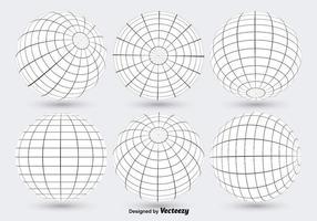 Vetores de grade de globo branco