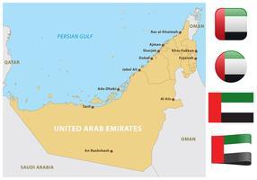Mapa dos Emirados Árabes Unidos vetor