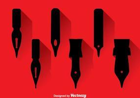 Ícones Black Pen Nib vetor