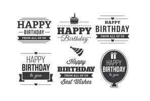 Feliz aniversário conjunto de etiquetas tipográficas vetor