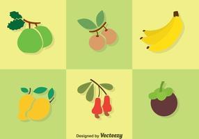 Ícones de cores planas de frutas vetor