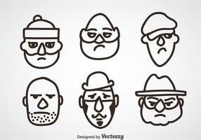 Conjuntos de rosto assaltante vetor