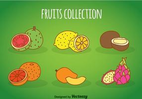 Coleção de desenhos animados de frutas vetor