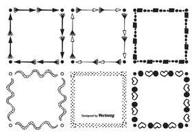 Conjunto de moldura de estilo desenhado à mão vetor
