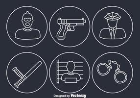 Ícones de elementos criminosos vetor