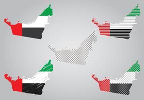 Mapa E Bandeira do Emirados Árabes Unidos vetor