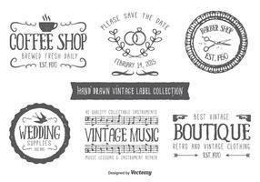Etiquetas tipográficas com estilo desenhado à mão vetor