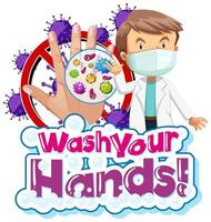 tema coronavirus lavar as mãos design vetor
