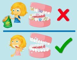 menina com dentes limpos e sujos vetor