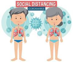 design de cartaz de coronavírus com pessoas e distanciamento social vetor