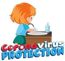 menina, limpando a mão para evitar o vírus corona