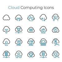 conjunto de ícones de linha fina de computação em nuvem vetor