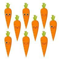 coleção de personagens de cenoura vetor