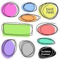 conjunto de círculos de rabisco colorido e ovais vetor
