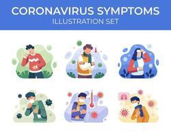 conjunto de cena de sintomas de coronavírus