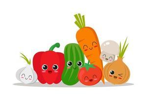 coleção de personagens de legumes vetor