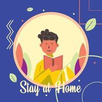 fique em casa e leia um livro. vetor