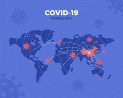 ilustração de surto de pandemia covid-19 com mapa-múndi