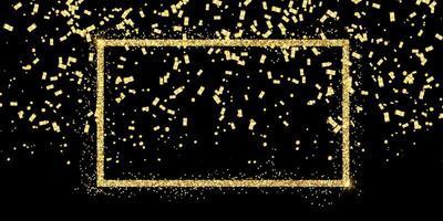 quadro de glitter e confetes ouro vetor