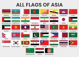 conjunto de bandeiras de países asiáticos