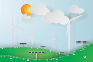 painéis de energia solar de turbina eólica verde vetor