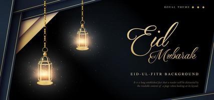 ornamento design eid mubarak fundo de banner de luxo real vetor
