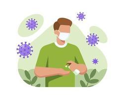 homem vestindo máscara e lavar as mãos com desinfetante para as mãos vetor