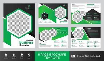 Design de modelo de folheto de negócios corporativos de 8 páginas