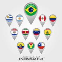 bandeiras da américa do sul com ponteiros de mapa vetor