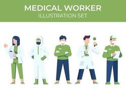 conjunto de caracteres de trabalhador médico vetor